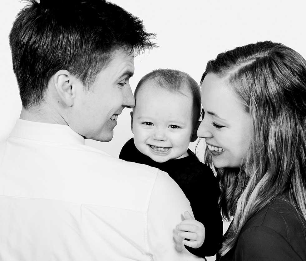 Portrætter af familien Roskilde, børnene eller den lille ny